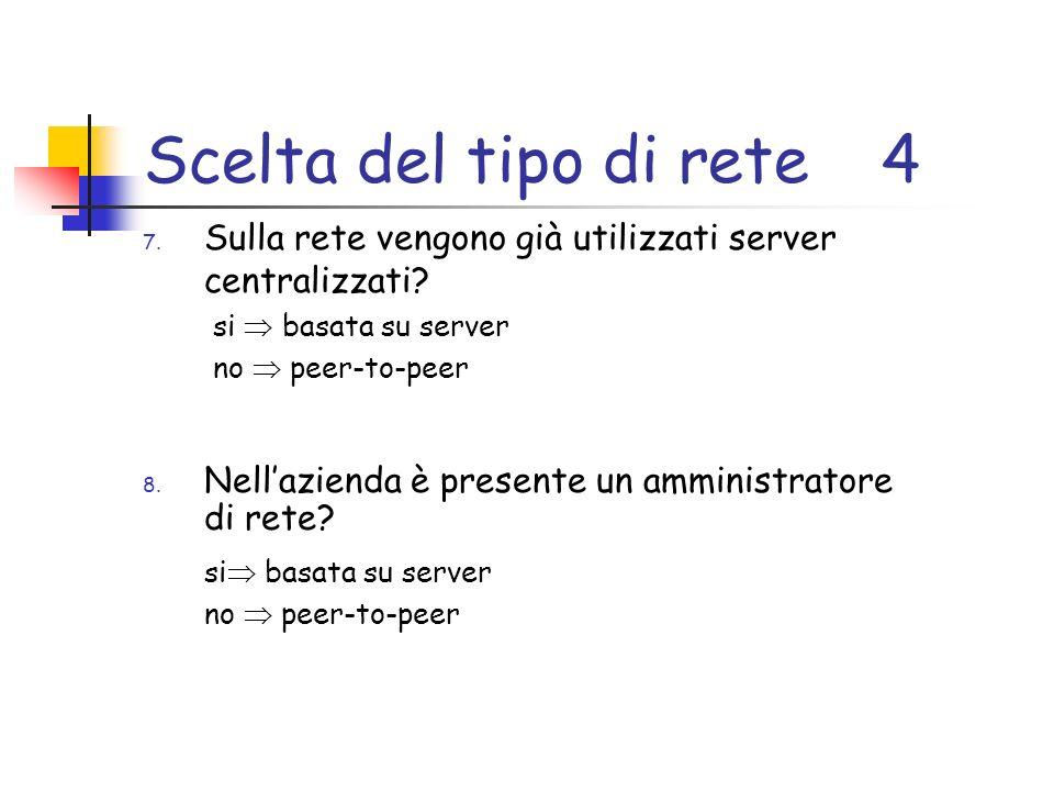 Scelta del tipo di rete4 7. Sulla rete vengono già utilizzati server centralizzati.