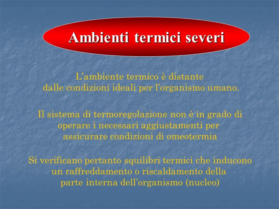 Lambiente termico è distante dalle condizioni ideali per lorganismo umano. Il sistema di termoregolazione non è in grado di operare i necessari aggius