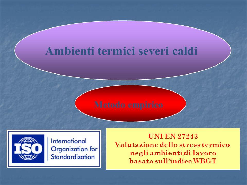 UNI EN 27243 Valutazione dello stress termico negli ambienti di lavoro basata sullindice WBGT Metodo empirico Ambienti termici severi caldi