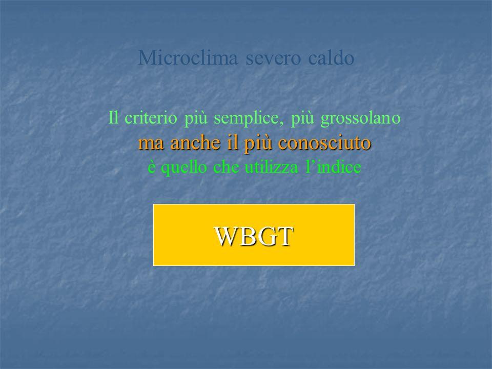 Il criterio più semplice, più grossolano ma anche il più conosciuto è quello che utilizza lindice WBGT Microclima severo caldo