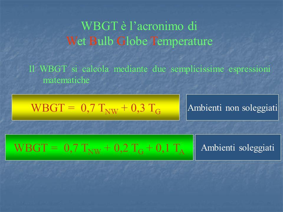 Il WBGT si calcola mediante due semplicissime espressioni matematiche WBGT = 0,7 T NW + 0,3 T G Ambienti non soleggiati WBGT = 0,7 T NW + 0,2 T G + 0,1 T A Ambienti soleggiati WBGT è lacronimo di Wet Bulb Globe Temperature