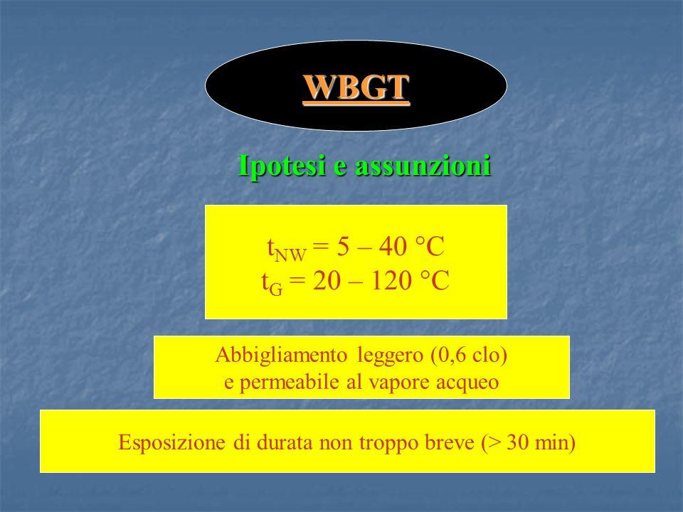 t NW = 5 – 40 °C t G = 20 – 120 °C WBGT Ipotesi e assunzioni Abbigliamento leggero (0,6 clo) e permeabile al vapore acqueo Esposizione di durata non troppo breve (> 30 min)