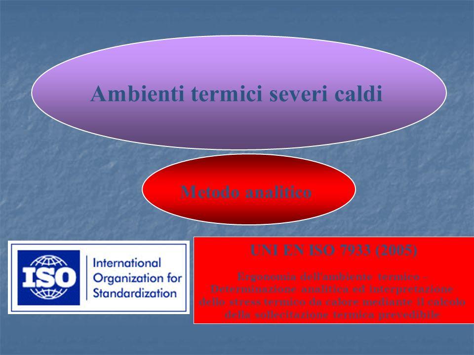 Ambienti termici severi caldi UNI EN ISO 7933 (2005) Ergonomia dell ambiente termico – Determinazione analitica ed interpretazione dello stress termico da calore mediante il calcolo della sollecitazione termica prevedibile Metodo analitico