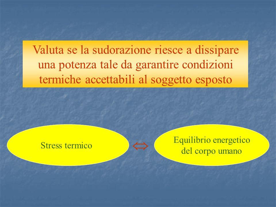 Stress termico Equilibrio energetico del corpo umano Valuta se la sudorazione riesce a dissipare una potenza tale da garantire condizioni termiche accettabili al soggetto esposto