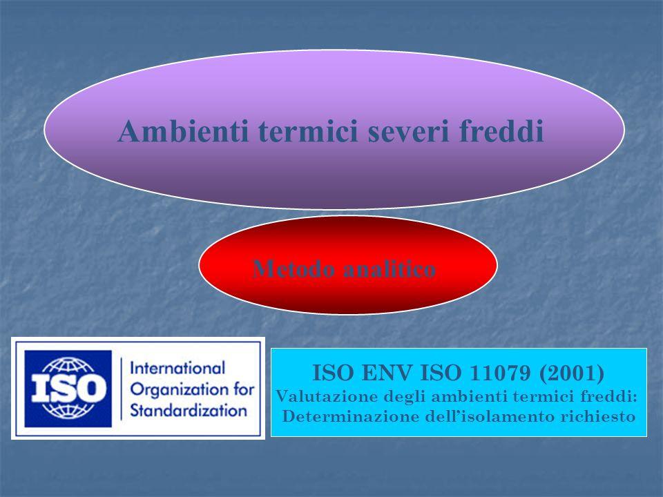ISO ENV ISO 11079 (2001) Valutazione degli ambienti termici freddi: Determinazione dellisolamento richiesto Metodo analitico