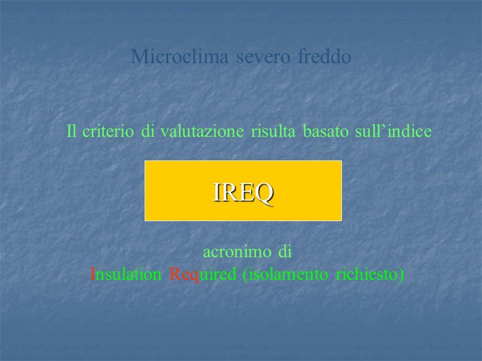 Il criterio di valutazione risulta basato sullindice IREQ Microclima severo freddo acronimo di Insulation Required (isolamento richiesto)