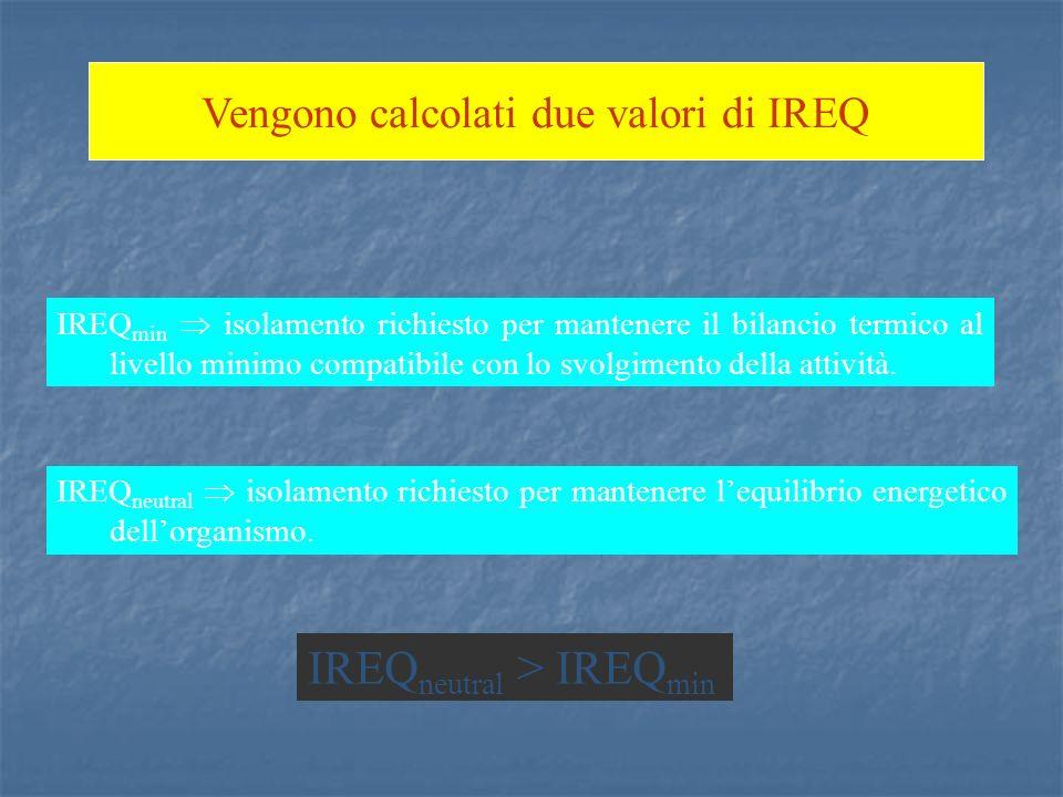 Vengono calcolati due valori di IREQ IREQ min isolamento richiesto per mantenere il bilancio termico al livello minimo compatibile con lo svolgimento della attività.