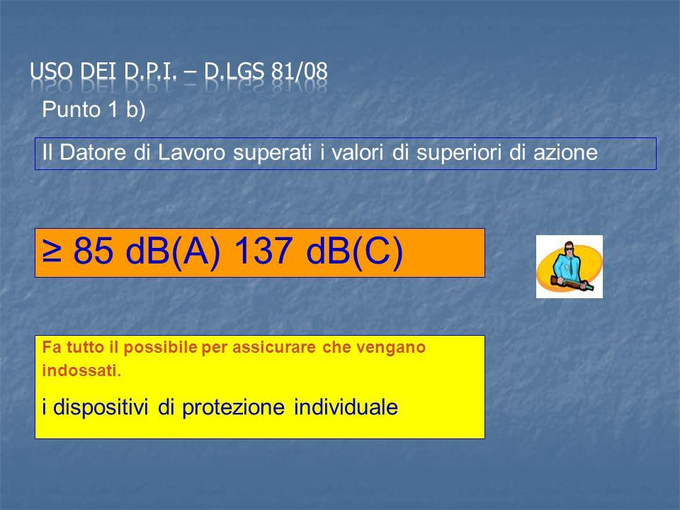 85 dB(A) 137 dB(C) Il Datore di Lavoro superati i valori di superiori di azione Fa tutto il possibile per assicurare che vengano indossati.