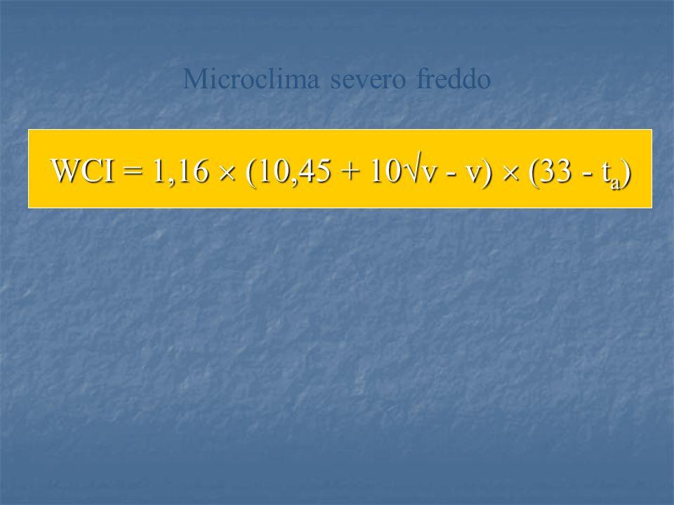 WCI = 1,16 (10,45 + 10 v - v) (33 - t a ) Microclima severo freddo