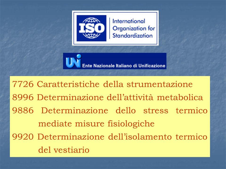 7726 Caratteristiche della strumentazione 8996 Determinazione dellattività metabolica 9886 Determinazione dello stress termico mediate misure fisiologiche 9920 Determinazione dellisolamento termico del vestiario