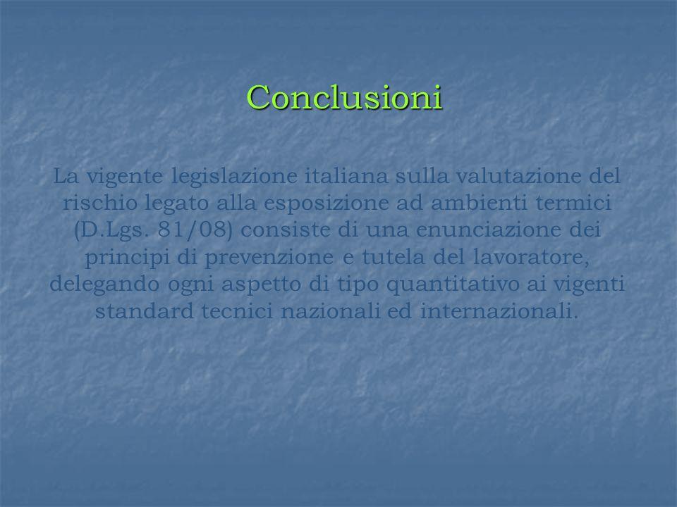 Conclusioni La vigente legislazione italiana sulla valutazione del rischio legato alla esposizione ad ambienti termici (D.Lgs. 81/08) consiste di una