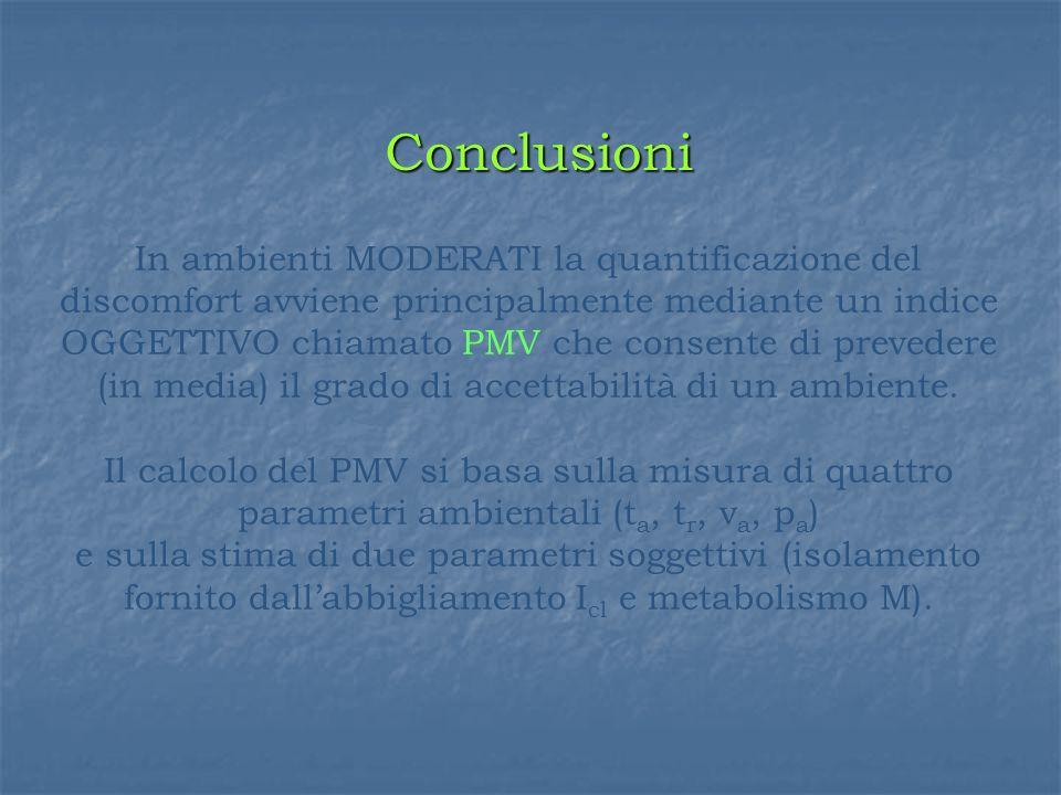 In ambienti MODERATI la quantificazione del discomfort avviene principalmente mediante un indice OGGETTIVO chiamato PMV che consente di prevedere (in media) il grado di accettabilità di un ambiente.