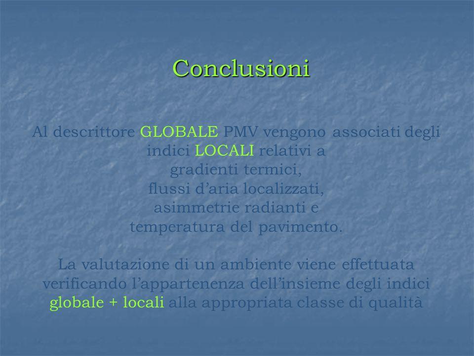 Al descrittore GLOBALE PMV vengono associati degli indici LOCALI relativi a gradienti termici, flussi daria localizzati, asimmetrie radianti e temperatura del pavimento.