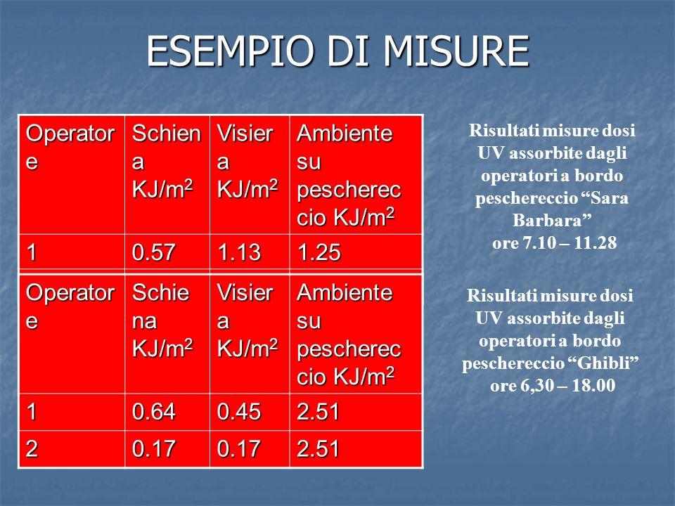 ESEMPIO DI MISURE Operator e Schien a KJ/m 2 Visier a KJ/m 2 Ambiente su pescherec cio KJ/m 2 10.571.131.25 20.860.931.25 Operator e Schie na KJ/m 2 Visier a KJ/m 2 Ambiente su pescherec cio KJ/m 2 10.640.452.51 20.170.172.51 Risultati misure dosi UV assorbite dagli operatori a bordo peschereccio Sara Barbara ore 7.10 – 11.28 Risultati misure dosi UV assorbite dagli operatori a bordo peschereccio Ghibli ore 6,30 – 18.00