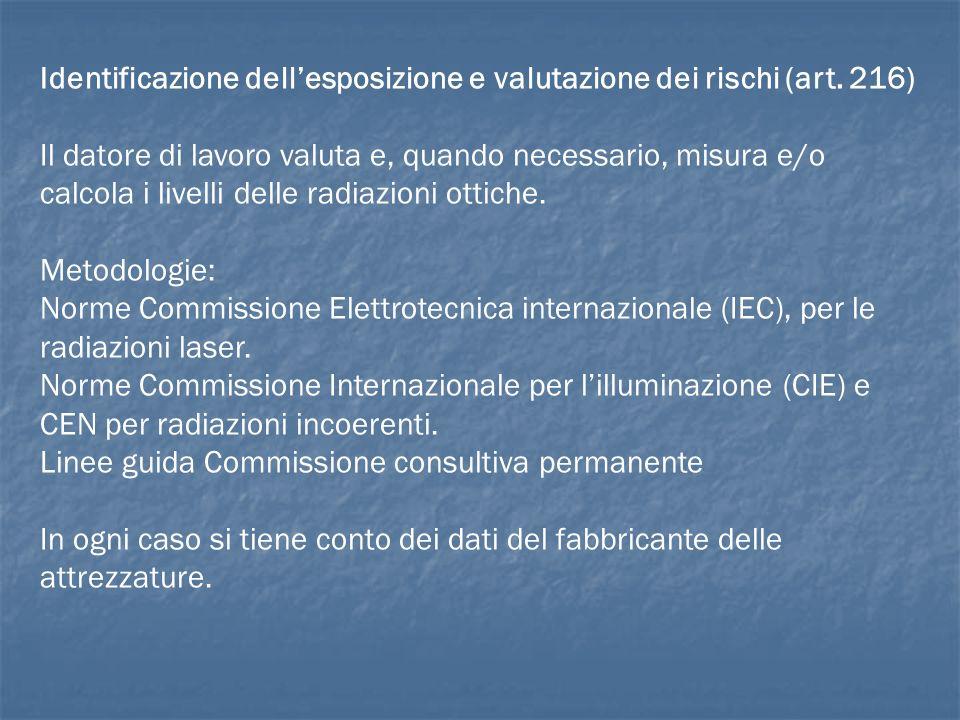 Identificazione dellesposizione e valutazione dei rischi (art. 216) Il datore di lavoro valuta e, quando necessario, misura e/o calcola i livelli dell