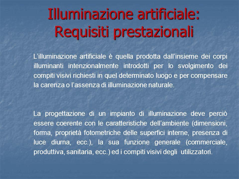 Illuminazione artificiale: Requisiti prestazionali Lilluminazione artificiale è quella prodotta dallinsieme dei corpi illuminanti intenzionalmente int