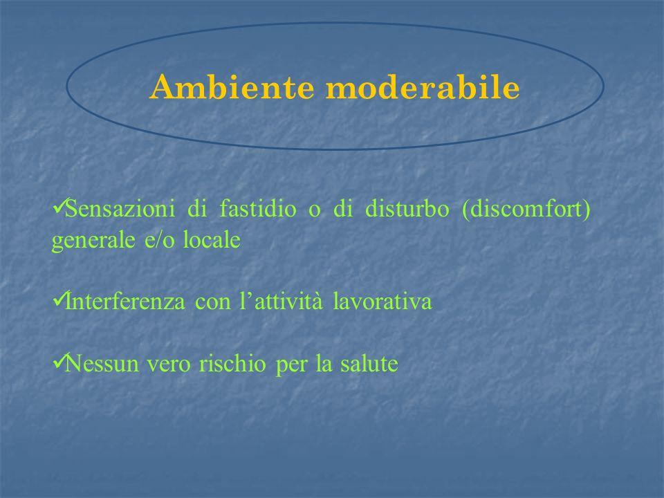 Sensazioni di fastidio o di disturbo (discomfort) generale e/o locale Interferenza con lattività lavorativa Nessun vero rischio per la salute Ambiente moderabile