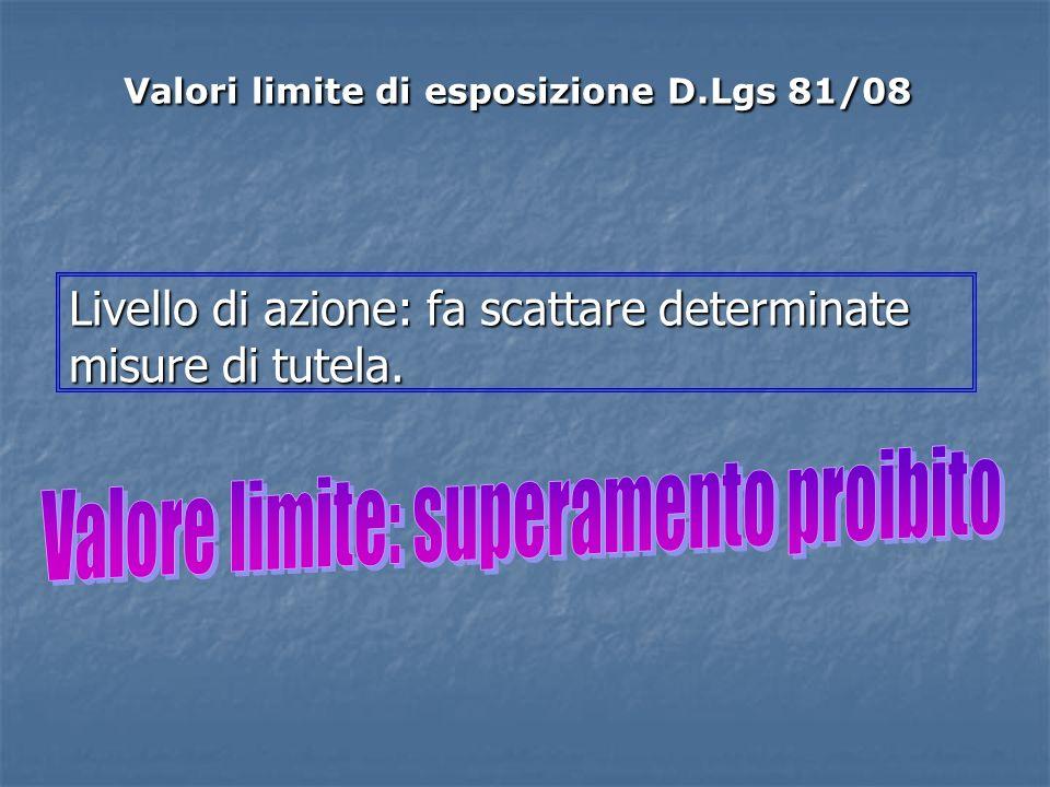 Livello di azione: fa scattare determinate misure di tutela. Valori limite di esposizione D.Lgs 81/08