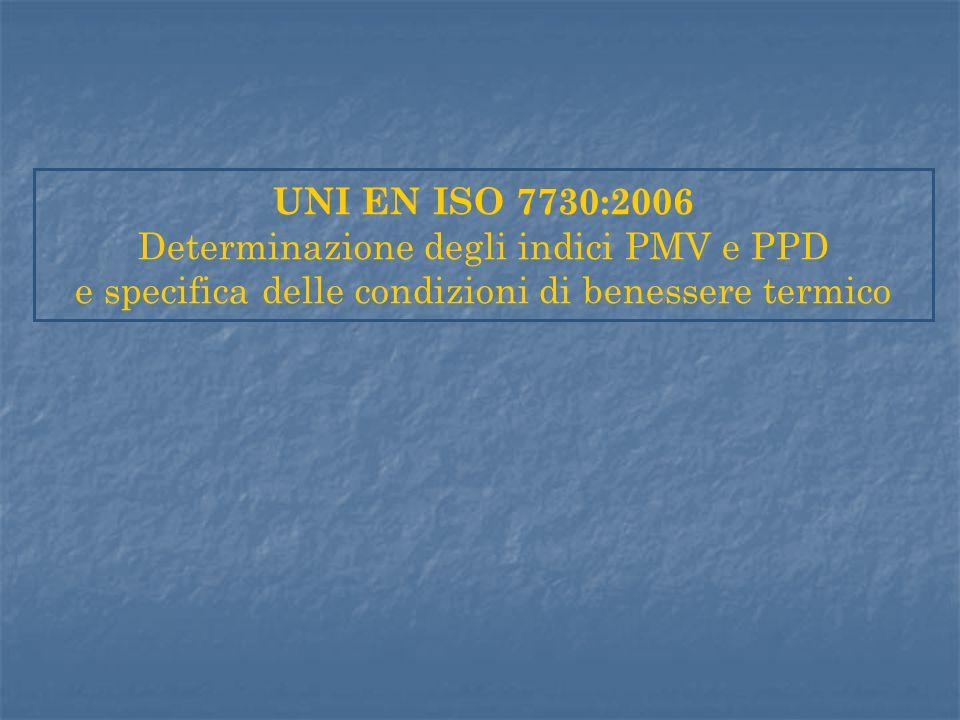 UNI EN ISO 7730:2006 Determinazione degli indici PMV e PPD e specifica delle condizioni di benessere termico