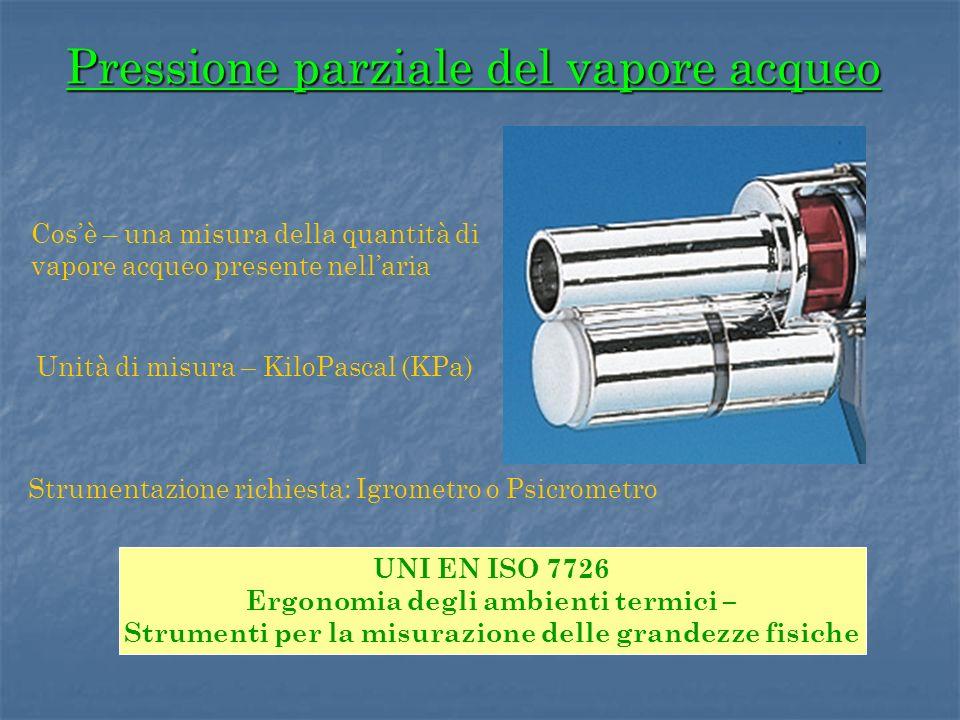 Pressione parziale del vapore acqueo Unità di misura – KiloPascal (KPa) Strumentazione richiesta: Igrometro o Psicrometro Cosè – una misura della quan