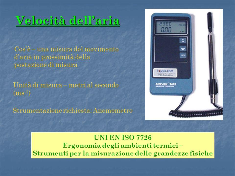 Velocità dellaria Unità di misura – metri al secondo (ms -1 ) Strumentazione richiesta: Anemometro Cosè – una misura del movimento daria in prossimità