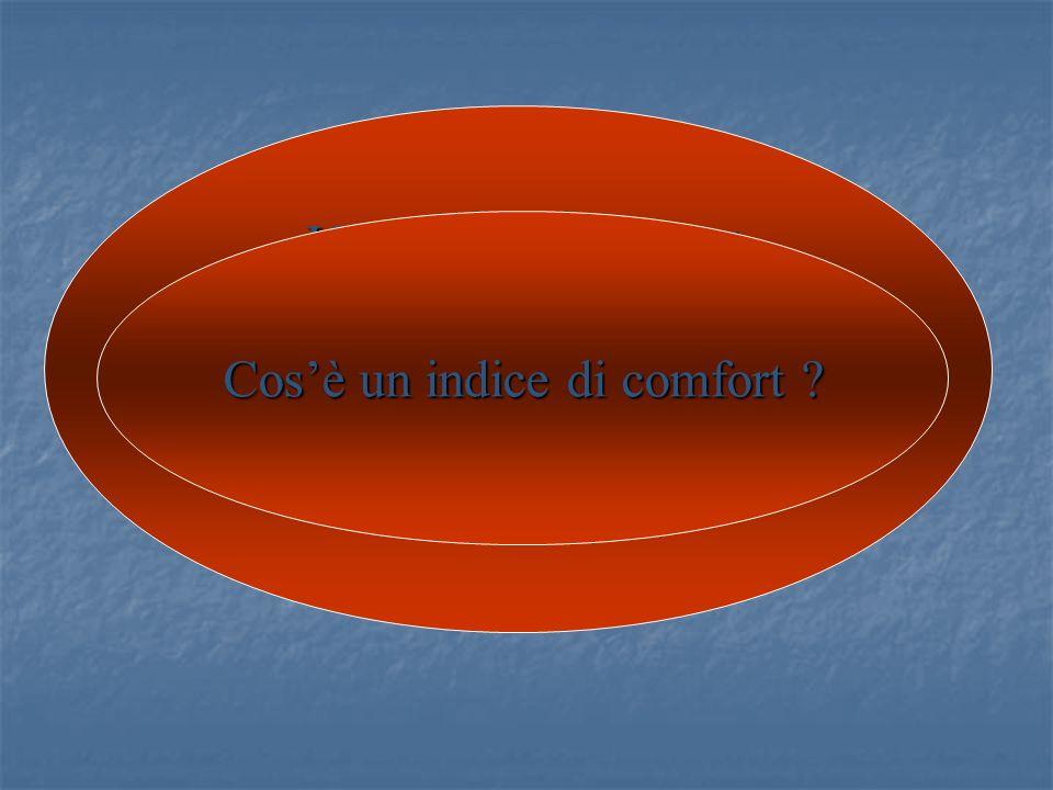 Un indice di comfort Un indice di comfort è un particolare indice di qualità appropriato alla descrizione del BENESSEREMICROCLIMATICO Cosè un indice d
