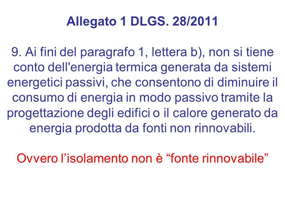 Allegato 1 DLGS. 28/2011 9. Ai fini del paragrafo 1, lettera b), non si tiene conto dell'energia termica generata da sistemi energetici passivi, che c