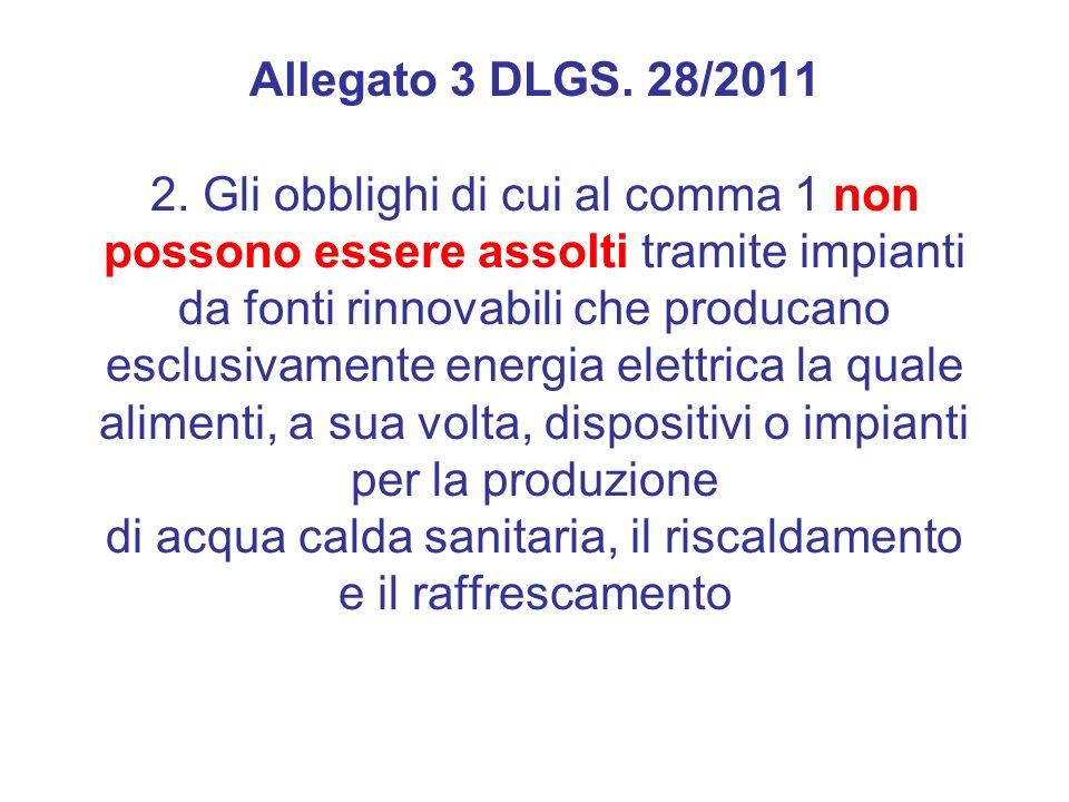 Allegato 3 DLGS. 28/2011 2. Gli obblighi di cui al comma 1 non possono essere assolti tramite impianti da fonti rinnovabili che producano esclusivamen