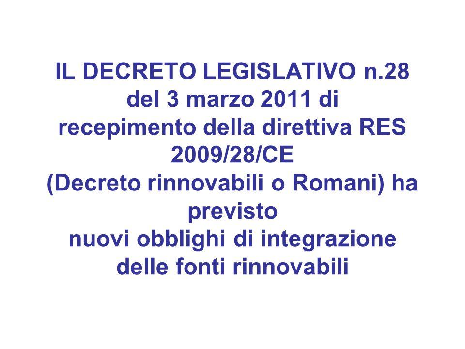 IL DECRETO LEGISLATIVO n.28 del 3 marzo 2011 di recepimento della direttiva RES 2009/28/CE (Decreto rinnovabili o Romani) ha previsto nuovi obblighi d
