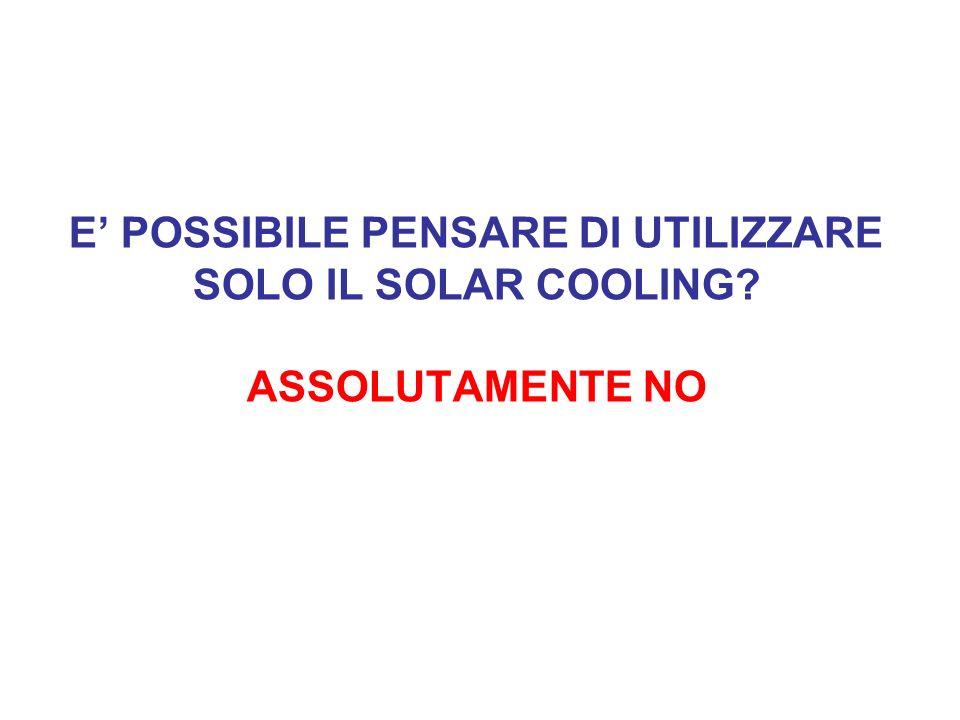 E POSSIBILE PENSARE DI UTILIZZARE SOLO IL SOLAR COOLING? ASSOLUTAMENTE NO