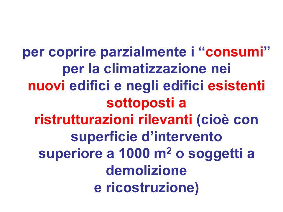 per coprire parzialmente i consumi per la climatizzazione nei nuovi edifici e negli edifici esistenti sottoposti a ristrutturazioni rilevanti (cioè co