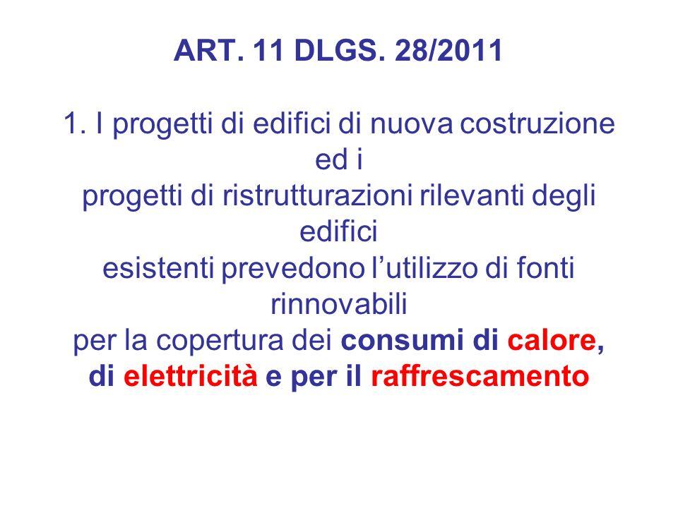 ART. 11 DLGS. 28/2011 1. I progetti di edifici di nuova costruzione ed i progetti di ristrutturazioni rilevanti degli edifici esistenti prevedono luti