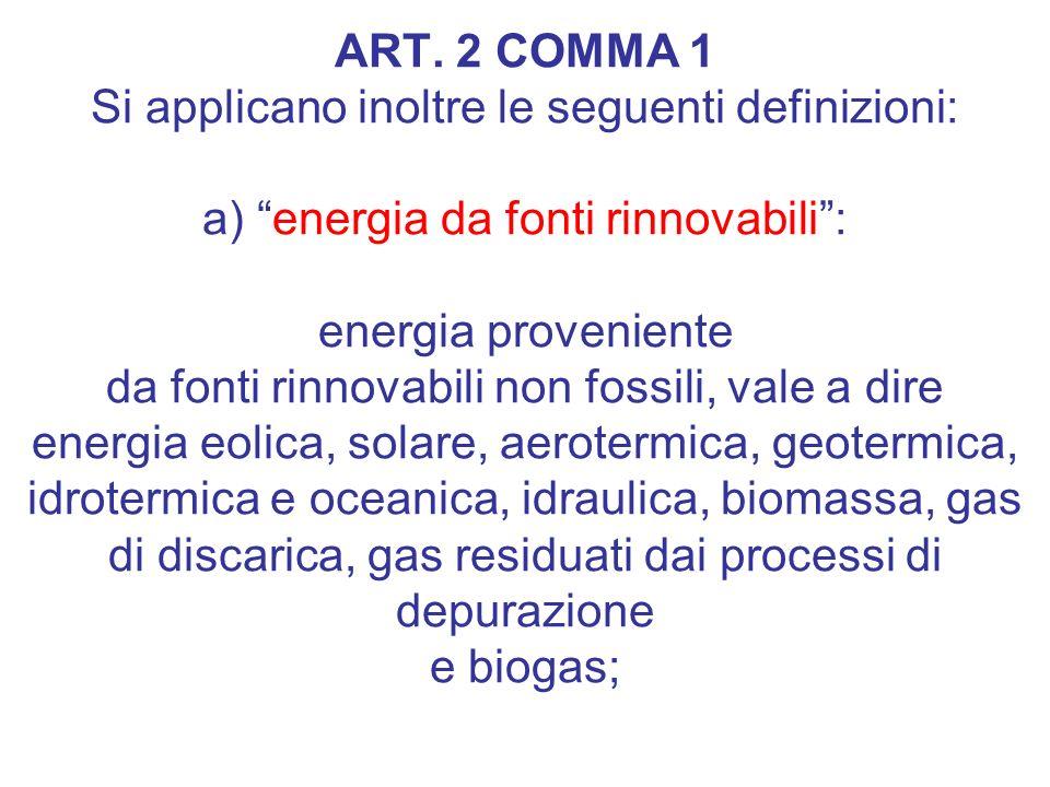 Articolo e DLGS. 28/2011 ART. 2 COMMA 1 Si applicano inoltre le seguenti definizioni: a) energia da fonti rinnovabili: energia proveniente da fonti ri