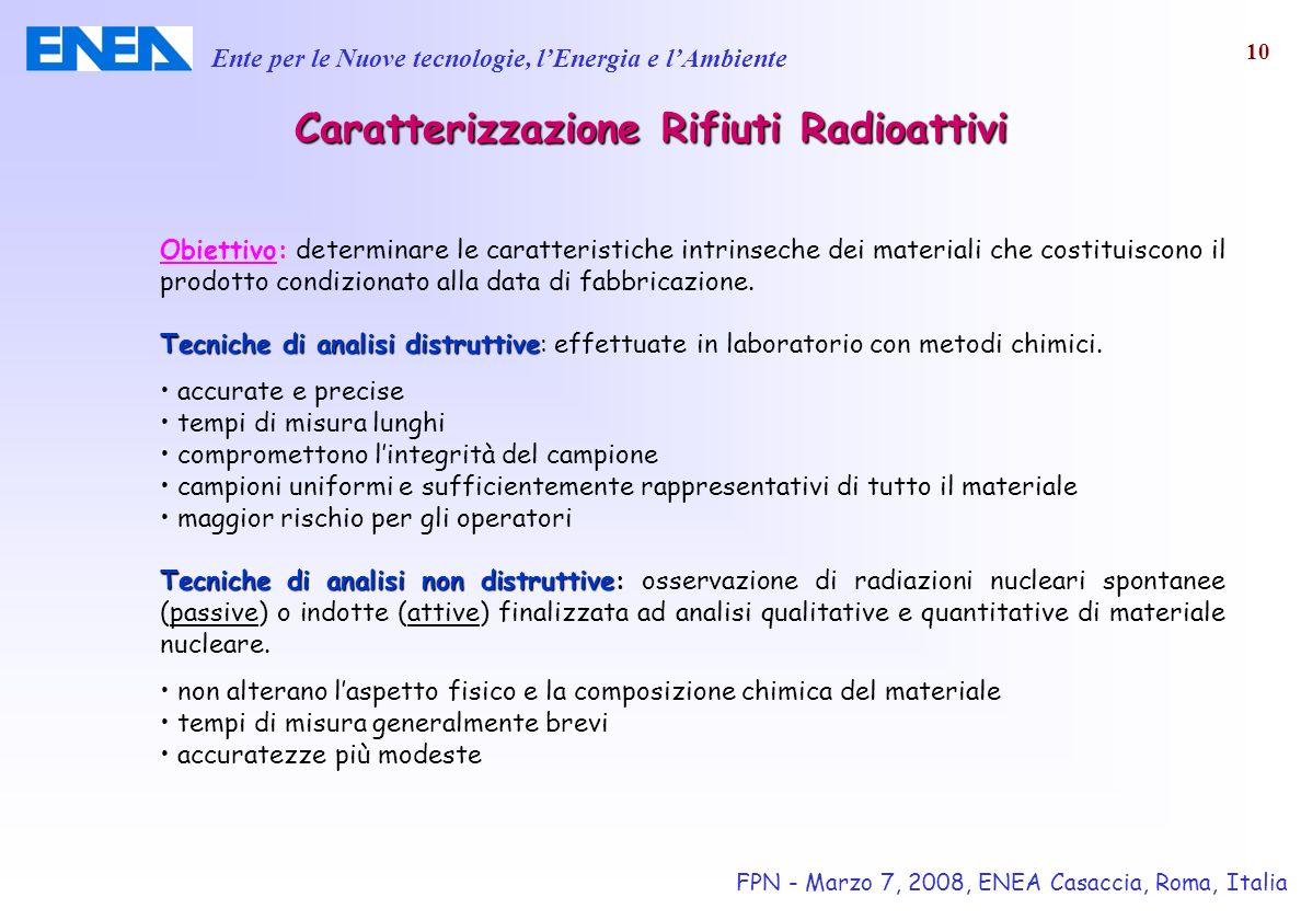Ente per le Nuove tecnologie, lEnergia e lAmbiente FPN - Marzo 7, 2008, ENEA Casaccia, Roma, Italia 10 Caratterizzazione RifiutiRadioattivi Caratteriz
