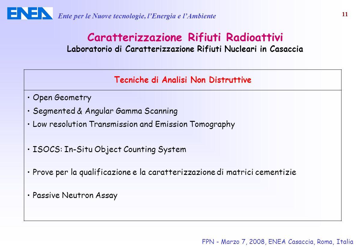 Ente per le Nuove tecnologie, lEnergia e lAmbiente FPN - Marzo 7, 2008, ENEA Casaccia, Roma, Italia 11 Caratterizzazione Rifiuti Radioattivi Laborator