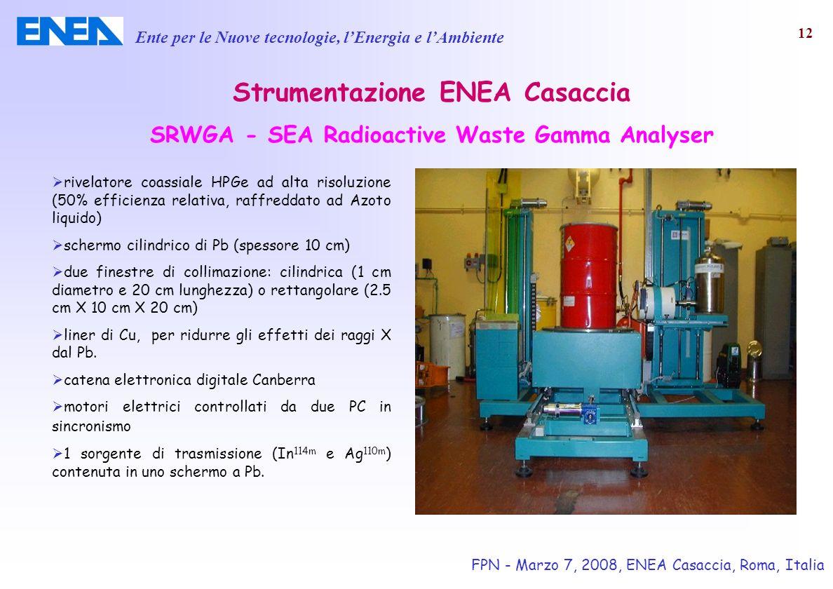 Ente per le Nuove tecnologie, lEnergia e lAmbiente FPN - Marzo 7, 2008, ENEA Casaccia, Roma, Italia 12 rivelatore coassiale HPGe ad alta risoluzione (
