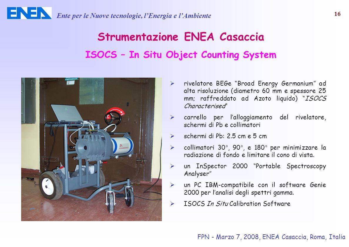 Ente per le Nuove tecnologie, lEnergia e lAmbiente FPN - Marzo 7, 2008, ENEA Casaccia, Roma, Italia 16 Strumentazione ENEA Casaccia ISOCS – In Situ Ob