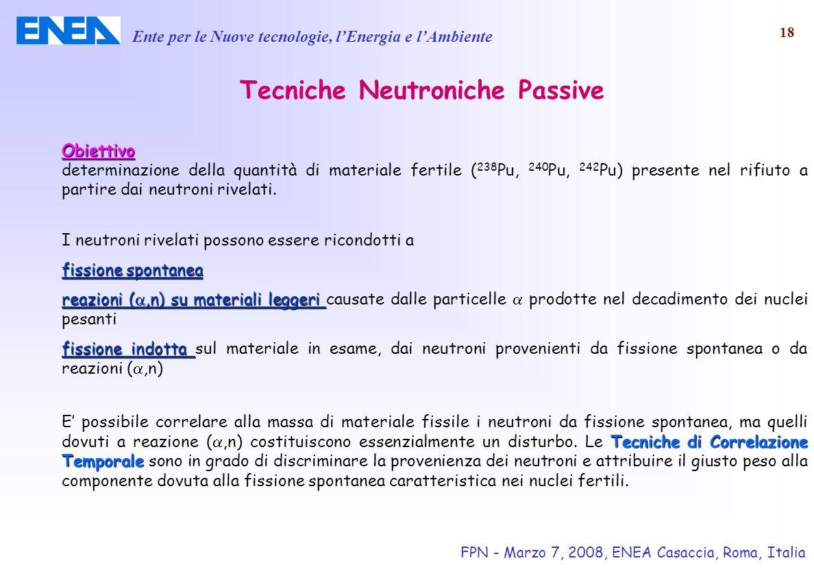 Ente per le Nuove tecnologie, lEnergia e lAmbiente FPN - Marzo 7, 2008, ENEA Casaccia, Roma, Italia 18 Tecniche Neutroniche Passive Obiettivo determin