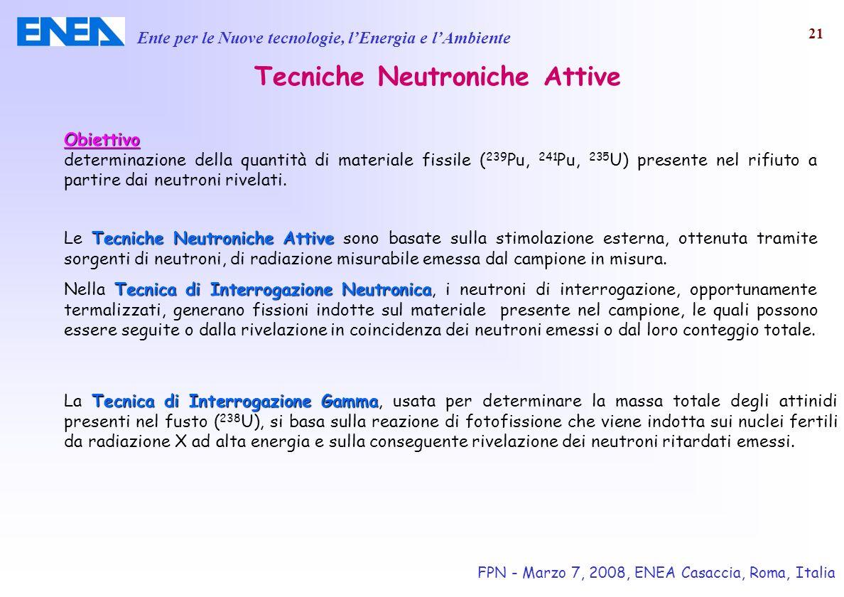 Ente per le Nuove tecnologie, lEnergia e lAmbiente FPN - Marzo 7, 2008, ENEA Casaccia, Roma, Italia 21 Tecniche Neutroniche Attive Obiettivo determina