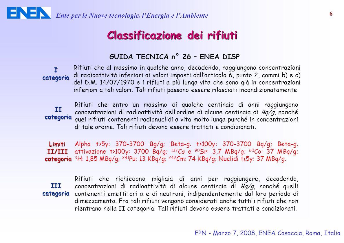Ente per le Nuove tecnologie, lEnergia e lAmbiente FPN - Marzo 7, 2008, ENEA Casaccia, Roma, Italia 17 ISOCS - Applicazioni Determinazione della concentrazione di radionuclidi nel suolo, pareti, soffitti, pavimenti ecc.