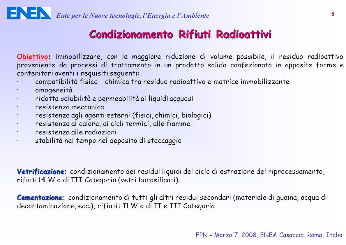 Ente per le Nuove tecnologie, lEnergia e lAmbiente FPN - Marzo 7, 2008, ENEA Casaccia, Roma, Italia 9 Condizionamento RifiutiRadioattivi Condizionamento Rifiuti Radioattivi