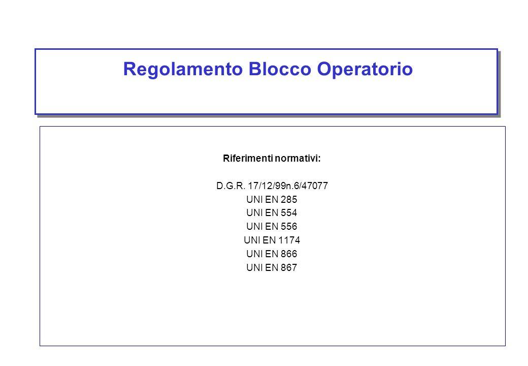 Regolamento Blocco Operatorio Riferimenti normativi: D.G.R. 17/12/99n.6/47077 UNI EN 285 UNI EN 554 UNI EN 556 UNI EN 1174 UNI EN 866 UNI EN 867