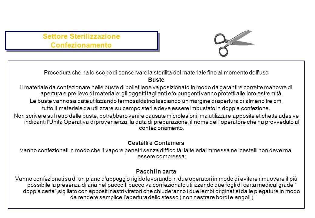 Settore Sterilizzazione Confezionamento Procedura che ha lo scopo di conservare la sterilità del materiale fino al momento dell'uso Buste Il materiale