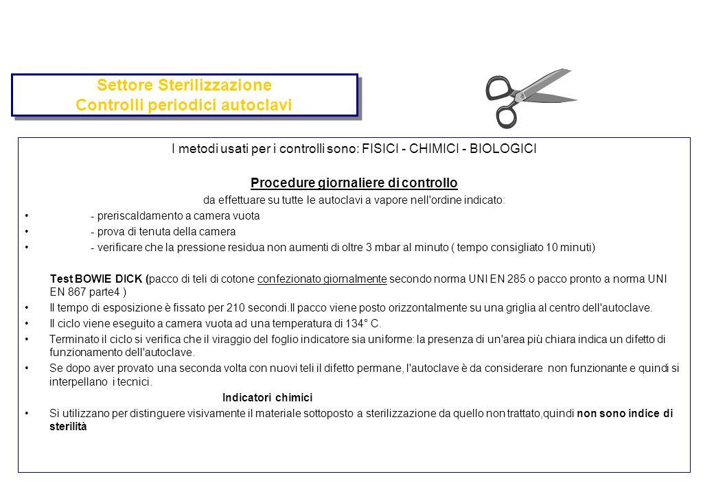 Settore Sterilizzazione Controlli periodici autoclavi I metodi usati per i controlli sono: FISICI - CHIMICI - BIOLOGICI Procedure giornaliere di contr