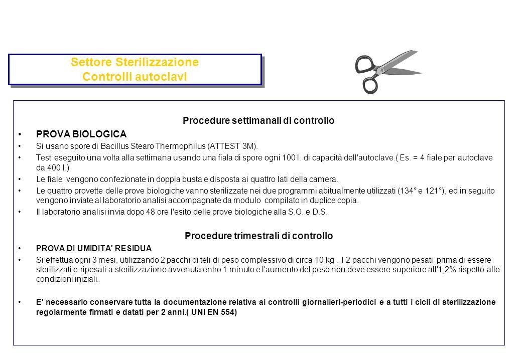 Settore Sterilizzazione Controlli autoclavi Procedure settimanali di controllo PROVA BIOLOGICA Si usano spore di Bacillus Stearo Thermophilus (ATTEST