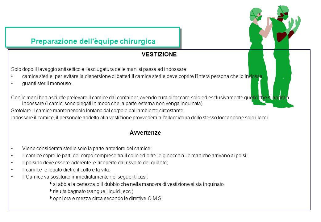 Preparazione dell'èquipe chirurgica VESTIZIONE Solo dopo il lavaggio antisettico e l'asciugatura delle mani si passa ad indossare: camice sterile; per