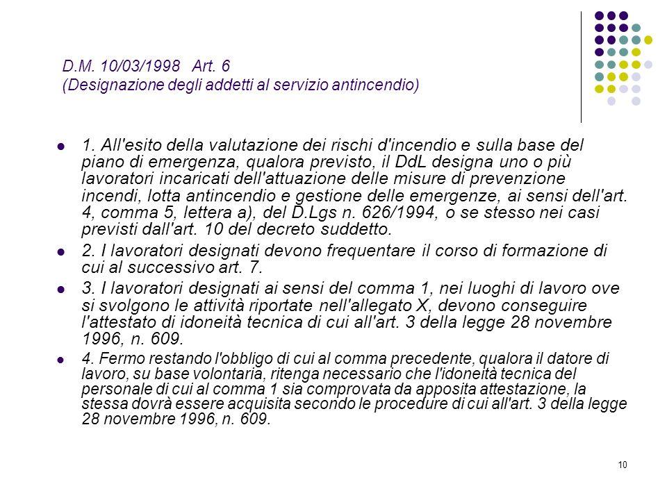 10 D.M. 10/03/1998 Art. 6 (Designazione degli addetti al servizio antincendio) 1. All'esito della valutazione dei rischi d'incendio e sulla base del p