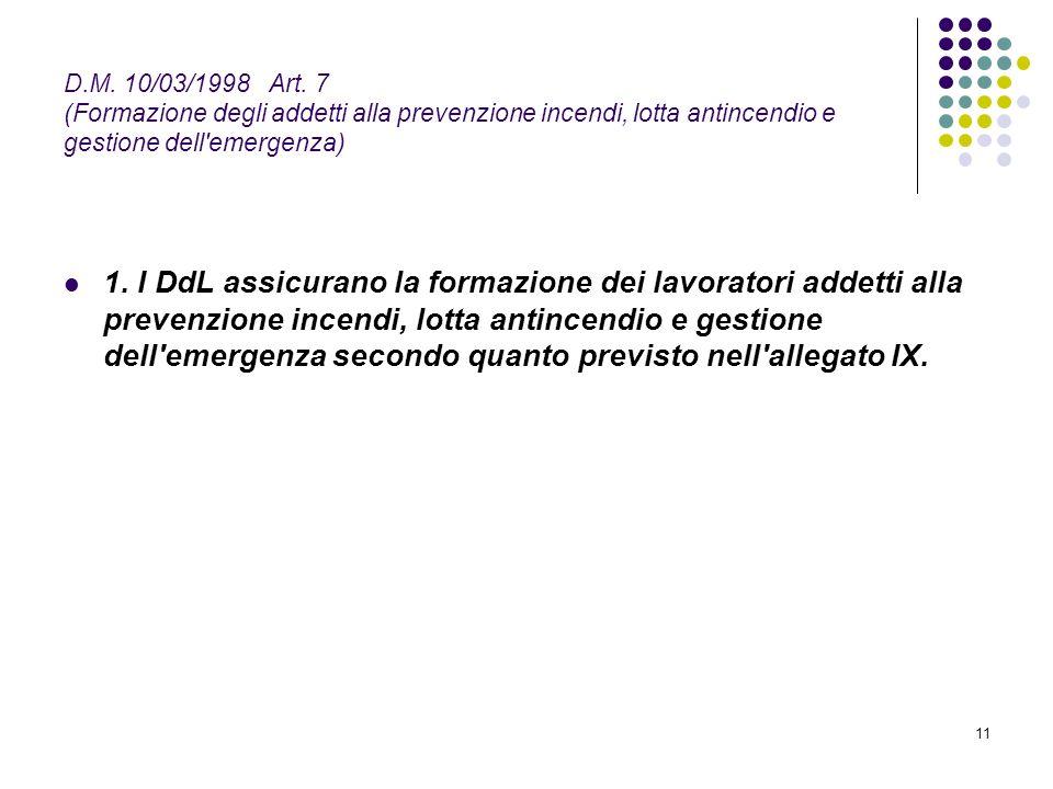 11 D.M. 10/03/1998 Art. 7 (Formazione degli addetti alla prevenzione incendi, lotta antincendio e gestione dell'emergenza) 1. I DdL assicurano la form