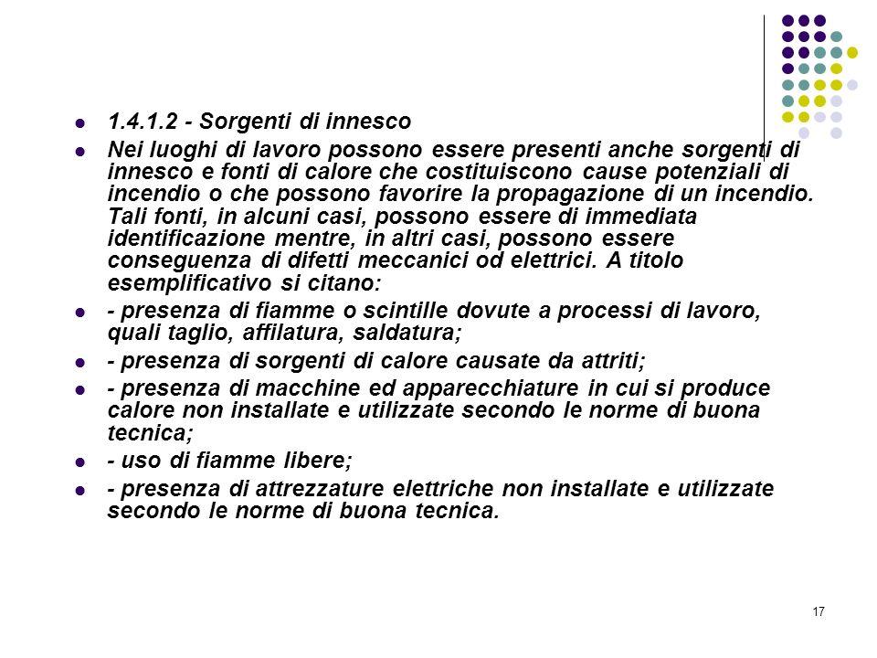 17 D.M. 10/03/1998 Allegato I Linee guida per la valutazione dei rischi incendio nei luoghi di lavoro 1.4.1.2 - Sorgenti di innesco Nei luoghi di lavo
