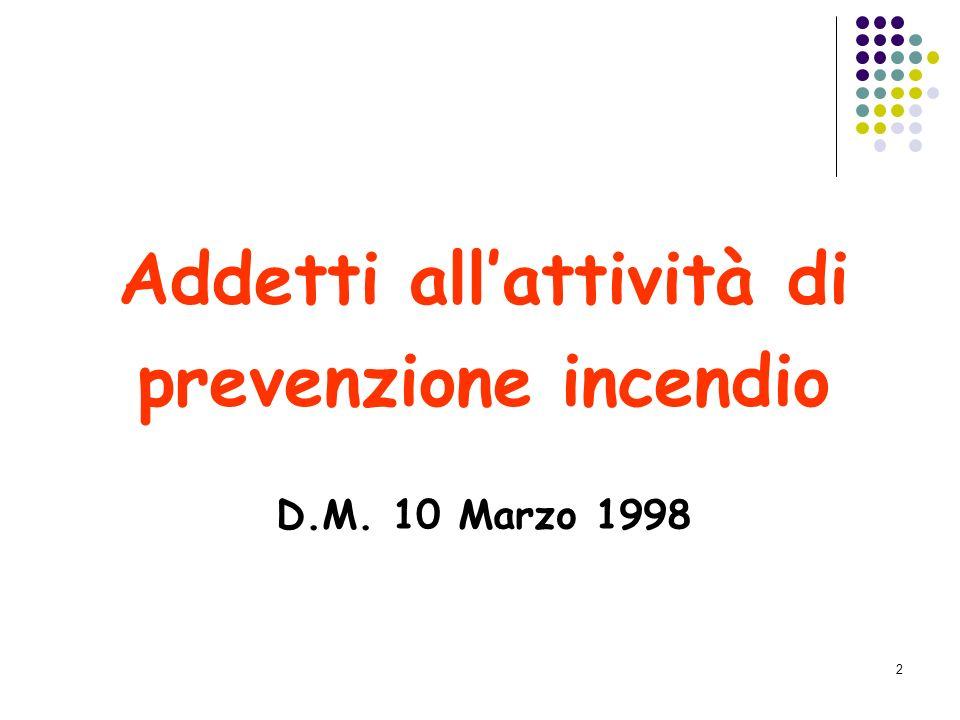 2 Addetti allattività di prevenzione incendio D.M. 10 Marzo 1998
